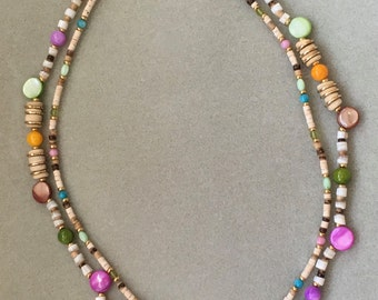 Double strand she'll/ bone and wood bead necklace