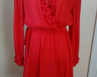 Red dress ruffle faux wrap dress lady in red