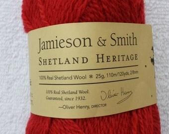 Shetland wool, Jamieson and Smith Heritage Shetland Wool, shade madder (red)