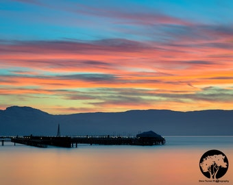 Kelowna Sunset - The Manteo Resort's wharf is silhouetted against a beautiful okanagan sunset.