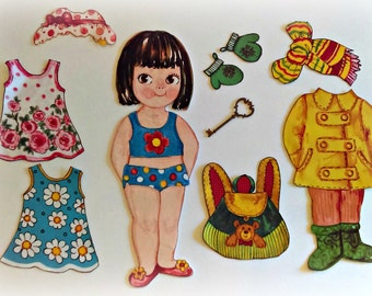 Handmade Large Cloth Paper Doll with 8 Piece Reversible Wardrobe