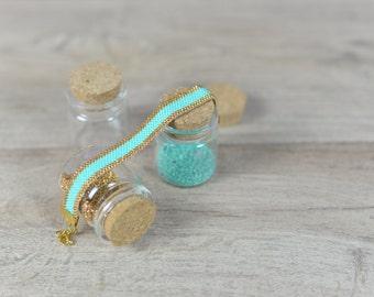 BRACELET MIYUKI Beads Seashore, Blue and Gold Bracelet Jewelry, TURQUOISE handmade Bracelet for gift, Boho glam Bracelet inspired by the sea