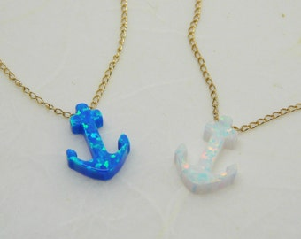Anchor necklace, Beach jewelry, Summer necklace, Nautical jewelry, Opal anchor charm, White anchor, Opal jewelry, Anchor jewelry