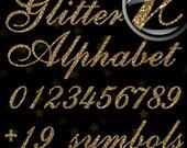 SALE! Gold Glitter Alphabet, Digital Glitter Alpha, Gold Digital Alphabet Letters, Gold Glitter Letters, Large Glitter Letters,  Design #71