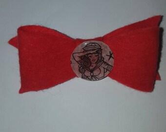 Red sailor girl hair clip