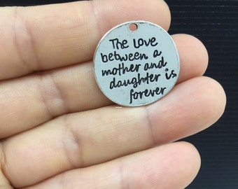 5pcs The Love between a mother and daughter.... Round Tibetan Silver Charm 23mm