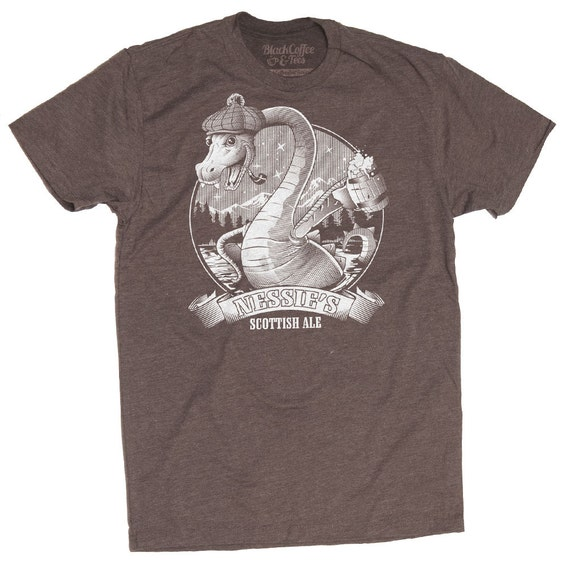 Loch Ness Monster Shirt - Craft Beer Shirt - Nessie The Loch Ness Monster Drinking Scottish Ale Hand Screen Printed on a Mens T Shirt