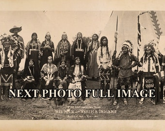 "1911 Nez Perce Yakima Indians Group Photo Vintage Panoramic Photograph Panorama 7"" x 27"" Long"