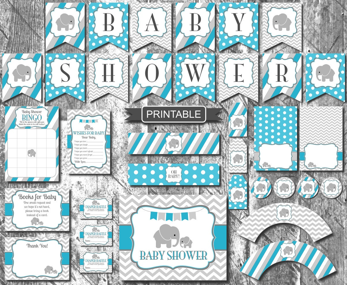 diy turquoise teal blue elephant baby shower decorations