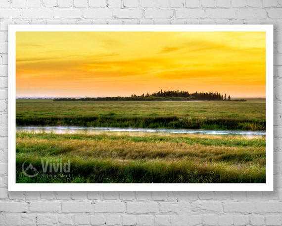 Prairie Sunrise Photography Office Landscape Art Print Black