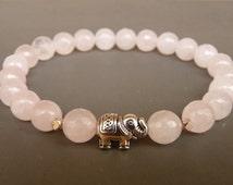 Rose Quartz Bracelet, Elephant Bracelet, Women Beaded Bracelet, Natural Rose Quartz bracelet, White stretch bracelet, Natural Stones