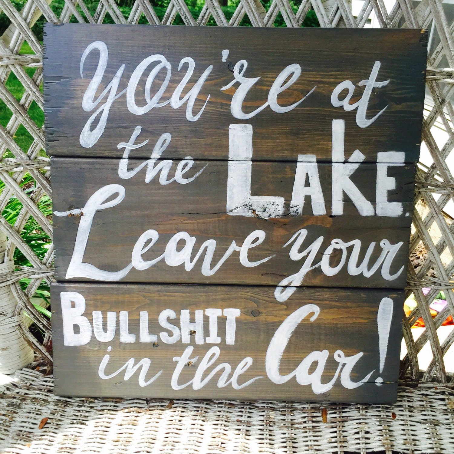 Rustic Lake House Sign Personalized Lake Rules Wall Hanging