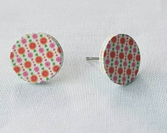 SALE Wooden hand painted stud earrings.