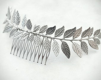 Large Silver Laurel Leaf Hair Comb Antique Silver Leaf Hair Comb Leaf Hair Clip Bridal Headpiece Grecian Wedding Greek Hair
