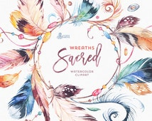 Sacred Wreaths. Watercolor Clipart. Native, tribal, feathers, beads, gypsy, diy, quote, boho, crown, mascot, amulet, spirit, american indian
