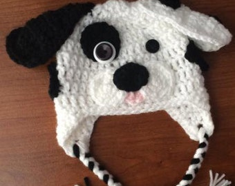 Crocheted puppy dog hat with ear flaps