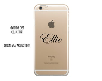 5035 // Clear Case Custom Black Curly Name Monogram Customize Personalize iPhone 6 Case iPhone 6 Plus Case