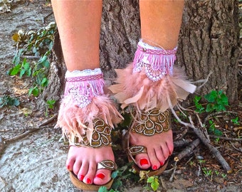 FREE SHIPPING!!! feathers cover boots, boho,hippie,chic,leather,gypsy,vintage,cubrebotas,piel,étnicos,ethnic,plumas