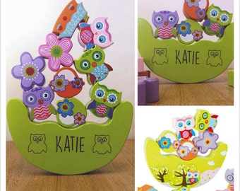 Owl Balance Child's Wooden Toy/Game Personalised - 00048