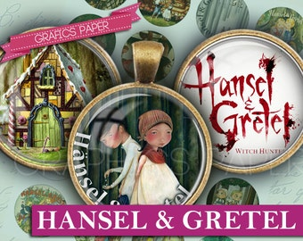 """Hansel & Gretel Fables - digital collage sheet - td71 - 1.5"""", 1.25"""", 30mm, 1 inch Circle Sheet Images Glass and Resin for Pendants cabochon"""