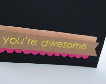 Embroidered You're Awesome Thank You Card