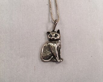 925 Silver Cat Necklace Pendant Kitty