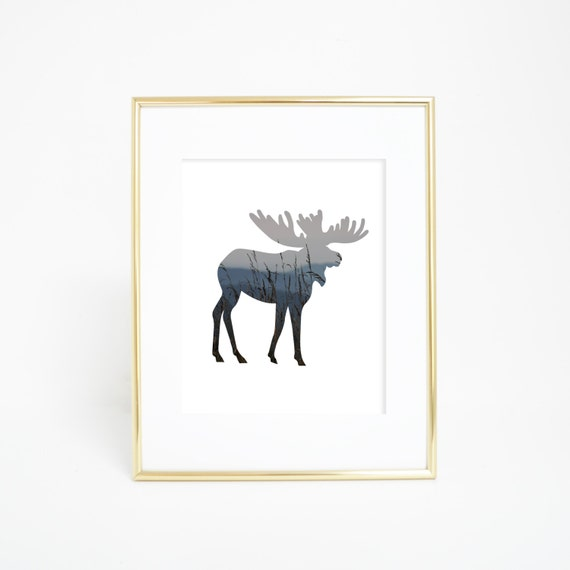 Moose Art Print, Digital Wall Print, Printable Wall Art, Instant Download, Moose Prints, Mountain Picture, Forest Printables, Woodland Art