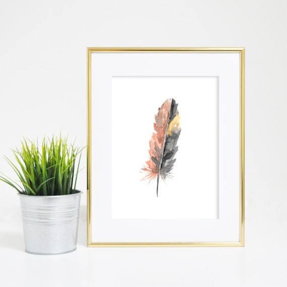 Art Prints for Her, Feather Wall Art, Feather Decor, Feather Print, Watercolor Feather, Feather Art Print, Nursery Print, Woodland Art