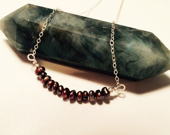 Bronze Fresh-Water Pearl Arc on Sterling Silver Chain