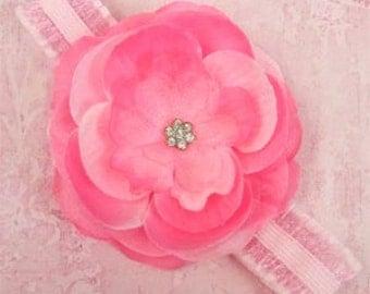 Pink Jeweled Rose Flower Newborn Headband Photo Prop