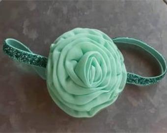Mint Chiffon Rose Flower Headband Photo Prop