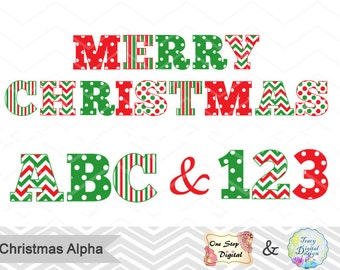 Instant Download Christmas Alphabet Clipart, Christmas Alpha Clip Art, Christmas Number Clipart, Christmas Clip Art, Christmas Clipart 0383