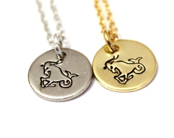 Capricorn constellation Sterling silver, Silver and gold Capricorn astrology necklace, Capricorn Zodiac Jewelry, Capricorn birthday gift