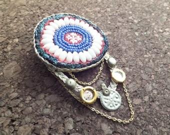 Beaded Medallion Gul Hair Piece, Tribal Belly Dance Hair Clip