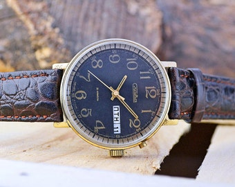 Vintage Slava Black Glory Gold Plated USSR Russian Soviet Men's Watch with new leather strap