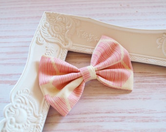 Pink White Stripe Honeycomb Hair Bow Clip - Fabric School Hair Bow - Ladies Girls Toddler Hair Bows - Mini Bows Everyday Bows
