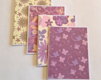 Purple cards, gift cards, purple stationery, thank you cards, greeting cards, any occasion, birthday cards, floral cards, note cards