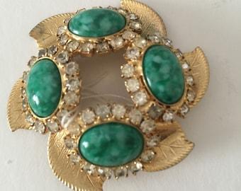 Jade Gold & Crystal Pendant