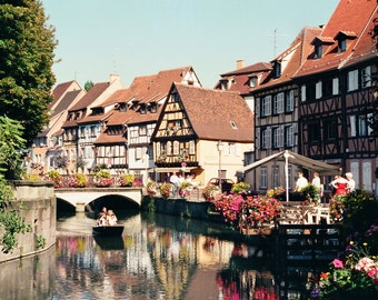 "France Photography, ""Little Venice in Colmar, France"" Print, Colmar France Photo Note Cards, Canal Homes, Travel Wall Art, Travel Note Cards"