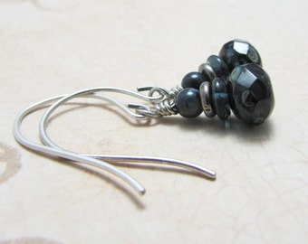 Stacked Czech Glass Picasso Beads and Antique Silver  Earrings