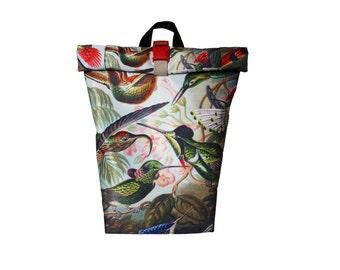 Beautiful Hummingbird Rolltop Backpack Messenger Cycling Backpack