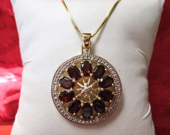 STERLING Silver Gold Plated Necklace with Garnet and Diamond Stones