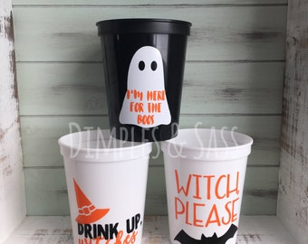 Halloween 16oz Stadium Cups | Halloween Party Cups | Drink Up Witches | Eat Drink and Be Scary | Here For the Boos | Set of 4+ | BPA Free