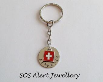 Emergency Medical Alert Warning Key Ring