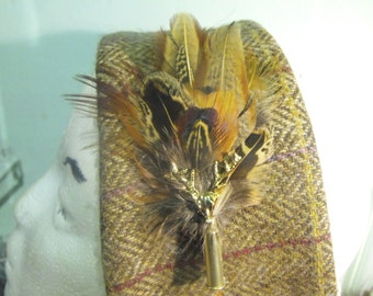 Toff- Stag Pheasant feather Hat pin, Pheasant feather brooch, mens feather boutonniere, feather lapel pin , grooms feather lapel pin