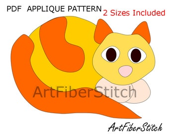 Pussycat PDF Applique Template Pattern - available for instant download from ArtFiberStitch