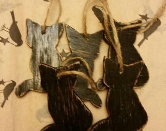 Primitive wooden black cat ornies set of five