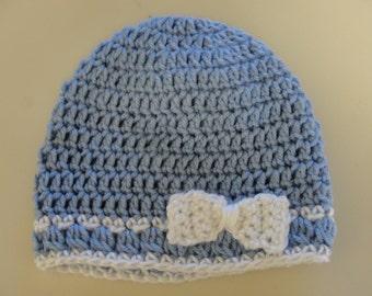 Handmade Crochet Blue Baby Girl  Hat with white crochet bow.