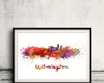 Wilmington skyline in watercolor over white background with name of city - Poster Wall art Illustration Print - SKU 1526