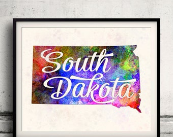 South Dakota - Map in watercolor - Fine Art Print Glicee Poster Decor Home Gift Illustration Wall Art USA Colorful - SKU 1744